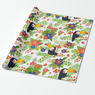 Toucan & Tropical Flowers Wrapping Paper
