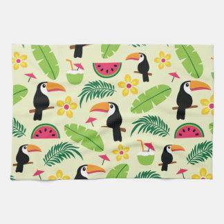 Toucan Tropical Summer Pattern Tea Towel