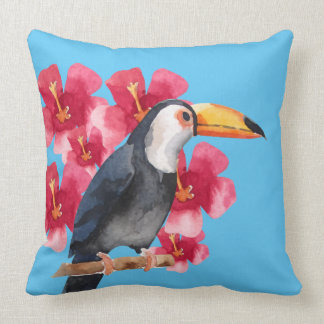 Toucan with Red Tropical Flowers Throw Pillow