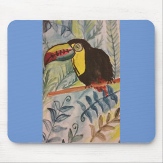 Toucan with tropical theme mouse pad