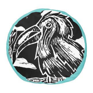 Toucan Woodblock Print Pouf