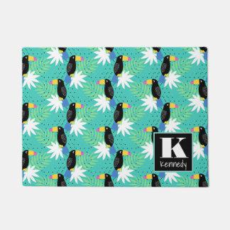 Toucans On Teal   Monogram Doormat