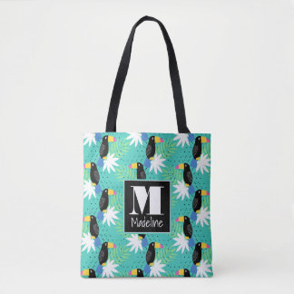Toucans On Teal | Monogram Tote Bag