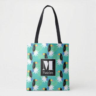 Toucans On Teal | Monogram Tote Bag