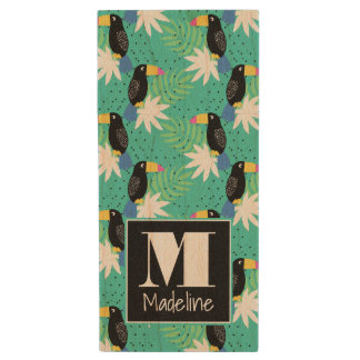 Toucans On Teal | Monogram Wood USB 2.0 Flash Drive