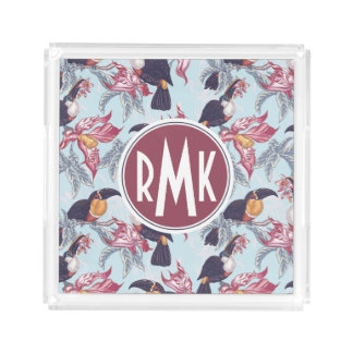 Toucans With Exotic Flowers | Monogram