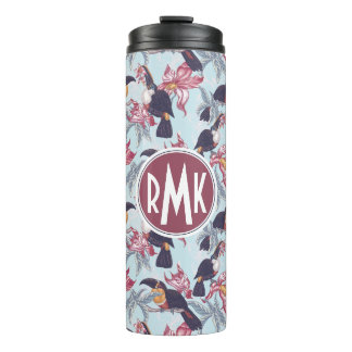 Toucans With Exotic Flowers | Monogram Thermal Tumbler