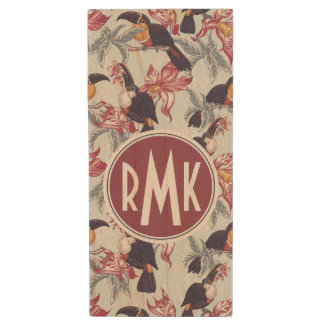 Toucans With Exotic Flowers | Monogram Wood USB 2.0 Flash Drive