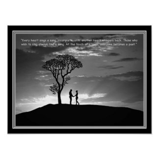 """Touch of a Lover"" Plato Quote B&W Print"
