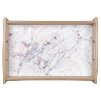 Touch of Rose White & Grey Marble Swirl Chic Trend Serving Tray