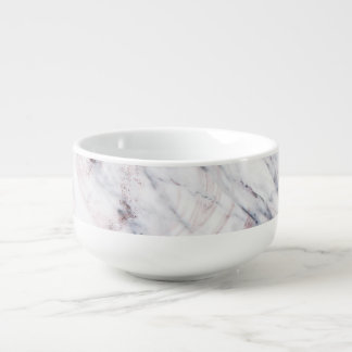Touch of Rose White & Grey Marble Swirl Chic Trend Soup Mug
