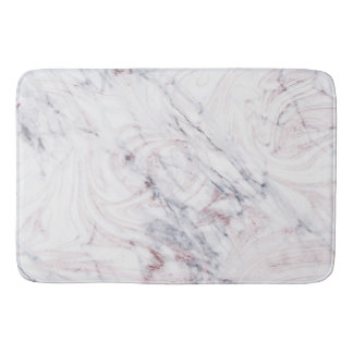 Touch of Rose White Grey Marble Swirl Chic Trendy Bath Mat