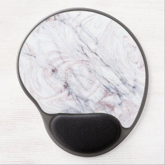 Touch of Rose White Grey Marble Swirl Chic Trendy Gel Mouse Pad