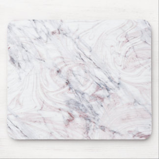 Touch of Rose White Grey Marble Swirl Chic Trendy Mouse Pad
