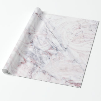 Touch of Rose White Grey Marble Swirl Chic Trendy Wrapping Paper