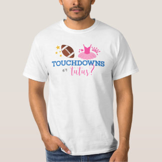 Touchdowns or Tutus Blue Pink Gender Reveal Men's T-Shirt