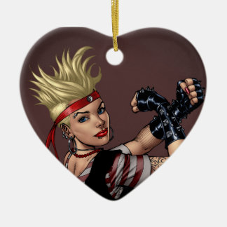Tough Blond Punk Girl - Ready To Fight by Al Rio Ceramic Heart Decoration