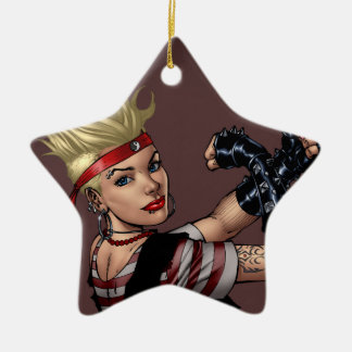 Tough Blond Punk Girl - Ready To Fight by Al Rio Ceramic Star Decoration