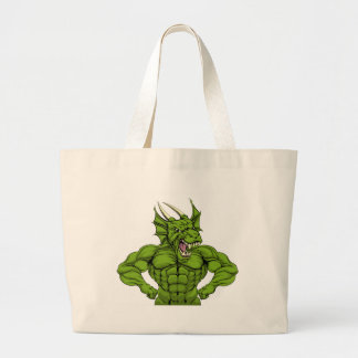 Tough Dragon Mascot Large Tote Bag