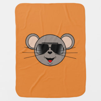 Tough mouse with sunglasses baby blanket