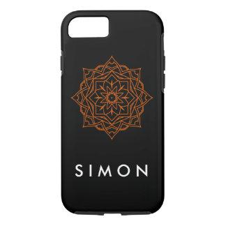 Tough Orange Damask pattern on black iPhone case