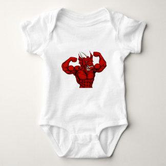 Tough Red Dragon Mascot Baby Bodysuit