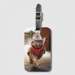 Tough Western Sheriff Owl with Attitude & Swagger Luggage Tag