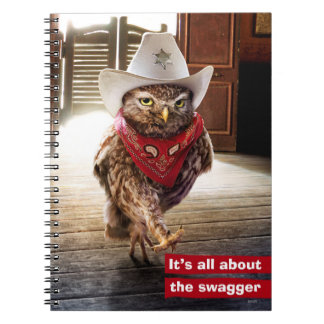 Tough Western Sheriff Owl with Attitude & Swagger Spiral Notebook