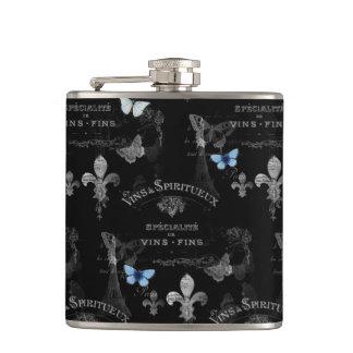 Toujours Paris Butterflies Collage Flask