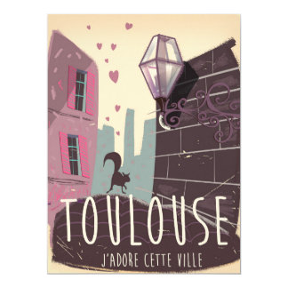 Toulouse France cartoon travel poster 17 Cm X 22 Cm Invitation Card