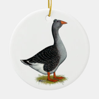 Toulouse Goose Tufted Ceramic Ornament