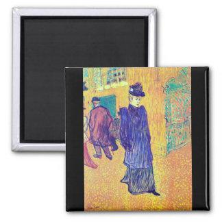 Toulouse-Lautrec - Jane Avril leaves the Ro Fridge Magnet