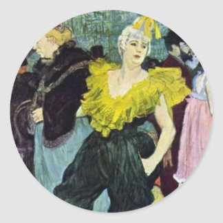 Toulouse Lautrec The Clowness vintage picture, Classic Round Sticker