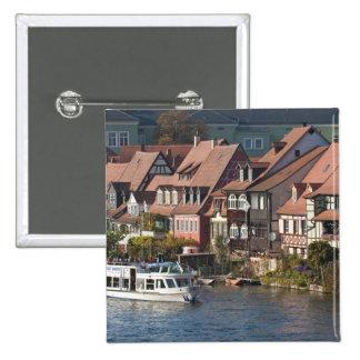 Tour boat in Little Venice and River Regnitz 15 Cm Square Badge