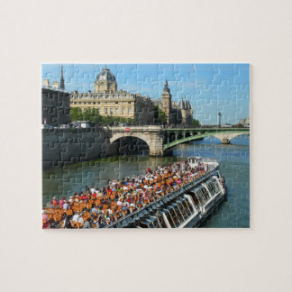 Tour Boat on the Seine River in Paris Jigsaw Puzzle