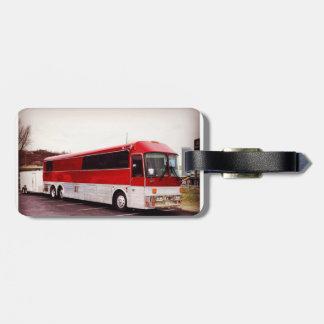 Tour bus leather tag luggage
