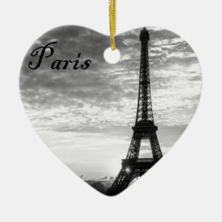 Tour Eiffel Paris - Sunset in Black & White (St.K) Ceramic Ornament
