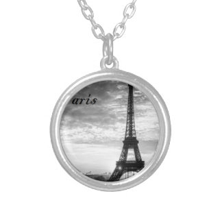 Tour Eiffel Paris - Sunset in Black & White (St.K) Silver Plated Necklace