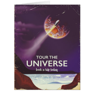 Tour the Universe vintage science fiction poster Card