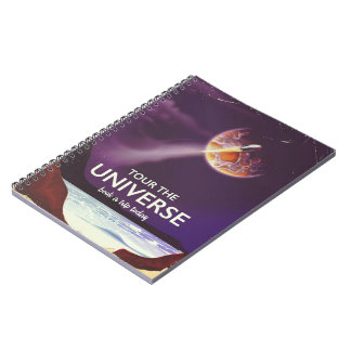 Tour the Universe vintage science fiction poster Notebook