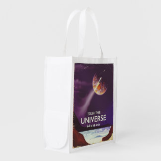 Tour the Universe vintage science fiction poster Reusable Grocery Bag