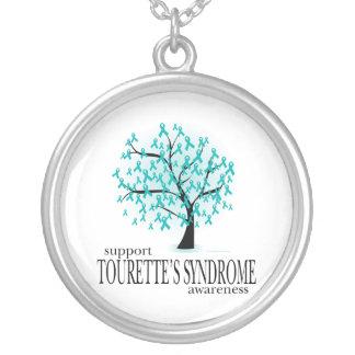 Tourette's Syndrome Tree Round Pendant Necklace