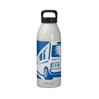 Tourist Coach Shuttle Bus Traveling Fast Retro Water Bottle