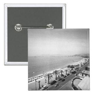 Tourist complex view at seashore B&W 15 Cm Square Badge
