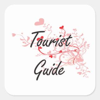 Tourist Guide Artistic Job Design with Hearts Square Sticker