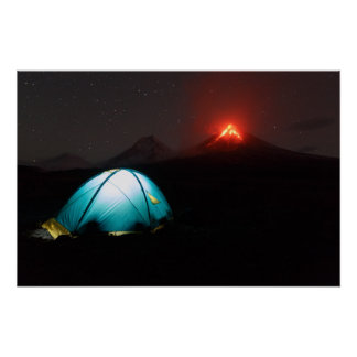 Tourist tent at night on background of volcano poster
