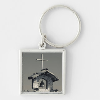 Tourist town, village chapel Silver-Colored square key ring
