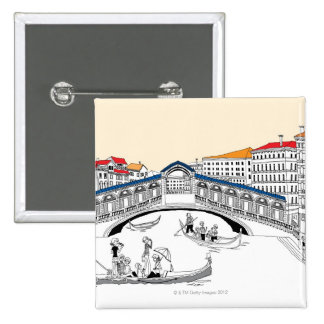 Tourist Traveling in Boats 15 Cm Square Badge