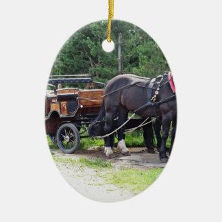 Touristic horse drawn calash ceramic oval decoration