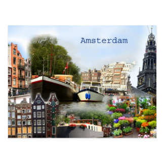 Touristic sites of Amsterdam Postcard